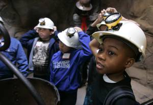 Students at McCaw School give tours of its recreated mine.