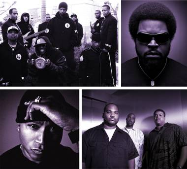 Welcome to the terrordome! Clockwise from top left: Public Enemy, Ice Cube, De La Soul 