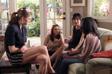 Beautiful women looking concerned amid attractive surroundings—gotta be an ABC drama. In this case, Mistresses.