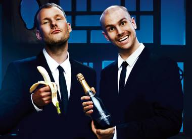 Go bananas: Champagne and bananas taste terrible together, but even DJ duo Dada Life needs potassium.