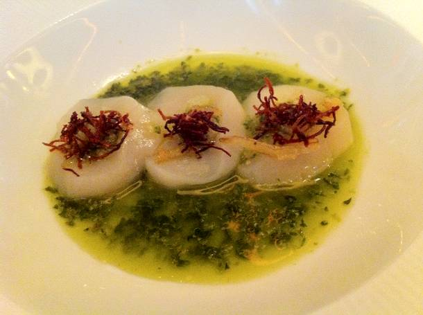 Sashimi of scallop with salsa verde, crispy beets and lemon.