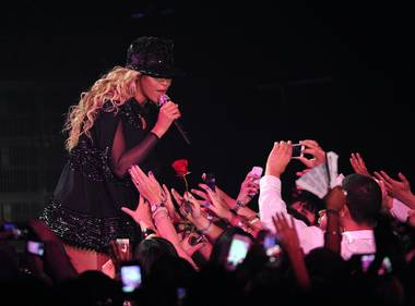 The spectacle-packed Mrs. Carter World Tour thrilled Las Vegas fans at the MGM Grand Garden Arena.