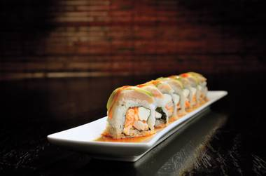 Shobu's 777 roll, a spicy swirl of shrimp, scallop, albacore, avocado and sriracha.