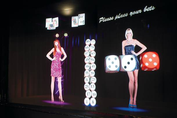 The future is now at the Vegas offices of Slovenian company Interblock, where holographic dealers deal digital cards and throw dice that hang in the air