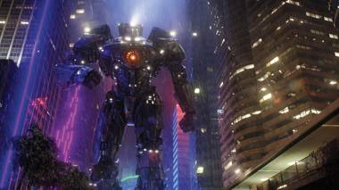 "A human-piloted ""jaeger"" prepares for battle in Pacific Rim."