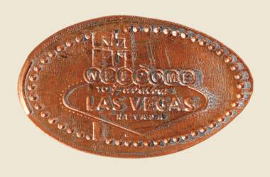 A squished penny featuring the Welcome to Fabulous Las Vegas sign.