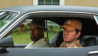 Guns for hire: Washington and Wahlberg make stuff go boom.
