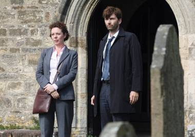 Alec Hardy (David Tennant) and Ellie Miller (Olivia Colman) are on the case in Broadchurch.