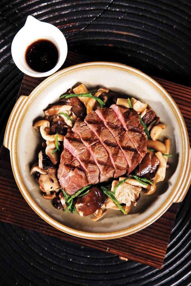 Kumi's rich, earthy filet tobanyaki is served sizzling.