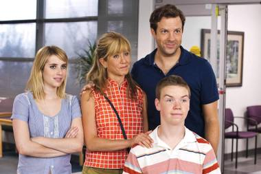 We're the Millers stars Jason Sudeikis, Jennifer Aniston, Emma Roberts and Will Poulter as a group of people posing as a family to smuggle marijuana into the U.S.
