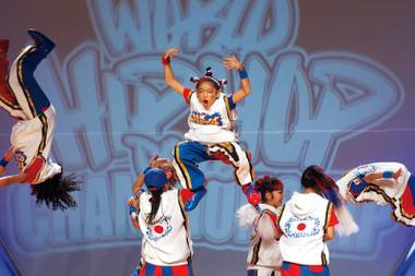 """Next Jr."" of Japan competes in the junior division during the World Hip Hop Championships at the Orleans Arena Sunday, Aug. 11, 2013."