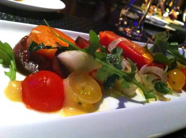 Heirloom tomatoes with smoked peach, pickled lemon cucumber and baby fennel.