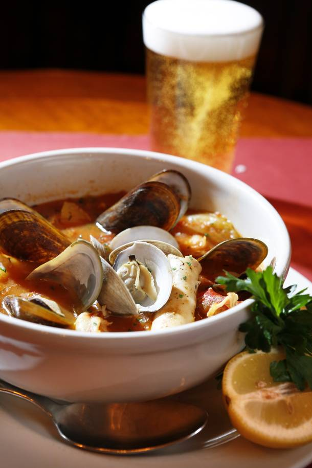 French bouillabaisse, packed with mussels, clams, lobster and other seafood.