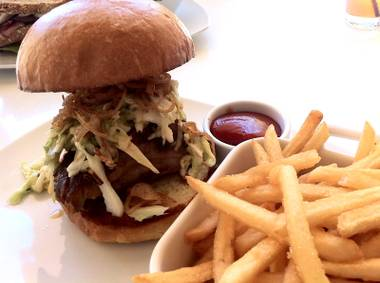 Don't call it a McRib: Heraea's pork sandwich with apple fennel slaw and caramelized onions on a brioche roll.