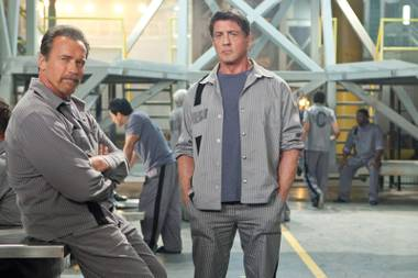 Schwarzenegger and Stallone model pinstripes in Escape Plan.