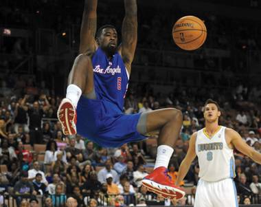 DeAndre Jordan and the L.A. Clippers are back in Las Vegas on Saturday, Oct. 19, 2013.