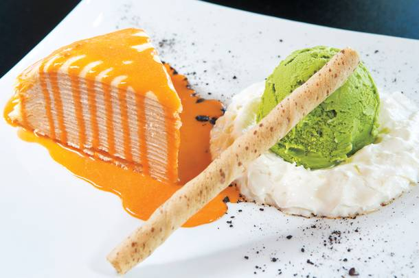Taiga's crepe cake dessert, served with green tea ice cream, is unlike anything you've tasted.