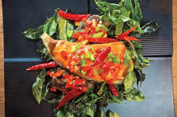 Spicy, sweet salmon basil.