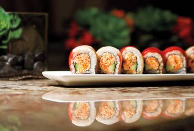 Zenshin's Candy Cane Roll combines spicy softshell crab, tuna, yellowtail and eel sauce.