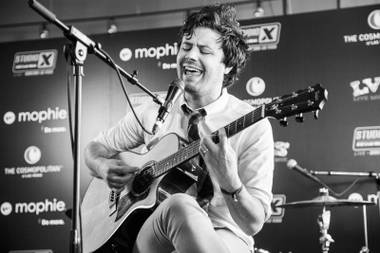 Passion Pit's Michael Angelakos plays Brass Lounge for X107.5's Studio X Live acoustic sessions during the Life Is Beautiful Festival.