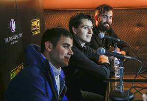 The members of Vampire Weekend are interviewed at Brass Lounge as part of X107.5's Studio X Live acoustic sessions during the Life Is Beautiful Festival.