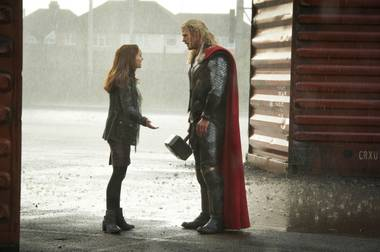Thor and Jane try to have a significant moment.