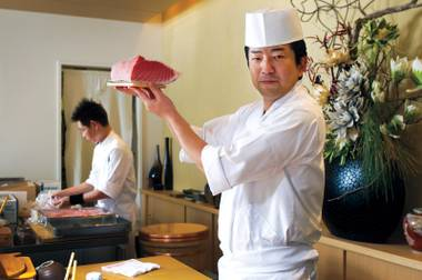 Head chef Gen Mizoguchi shows off the goods at Kabuto.
