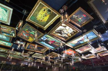 Gustav Klimt, Edward Hopper and Grant Wood are just a few of the artists whose works hang on the Art Bar ceiling.
