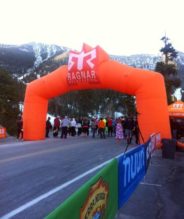 The start line of Ragnar Relay Las Vegas at the Las Vegas Ski & Snowboard Resort. The finish line was at Lake Las Vegas.
