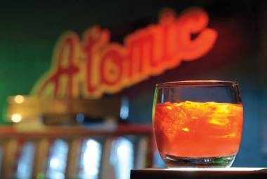 Atomic Liquors' Anthony Bourdain-inspired cocktail is a twist on the Negroni.