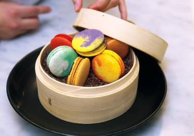 Find exotic flavors of macarons at Hakkasan, from salted caramel to blood orange.