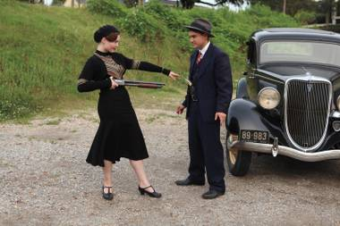 Holliday Grainger and Emile Hirsch as Bonnie & Clyde in a more lighthearted moment.
